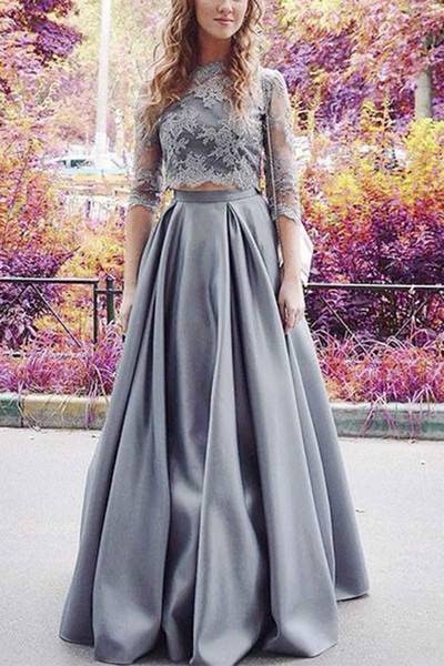 Formal Evening Dresses Women's Gray Half Sleeve Two Pieces Elegant Bridal Gown Special Occasion Prom Bridesmaid Party Dress 17LF186