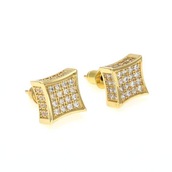 Nueva Llegada Mens Cubic Zirconia Diamante Earings Moda Hombres Joyería Hip Hop Cobre Oro Blanco Lleno de Cristal Stud Pendiente Joyería KKA1793