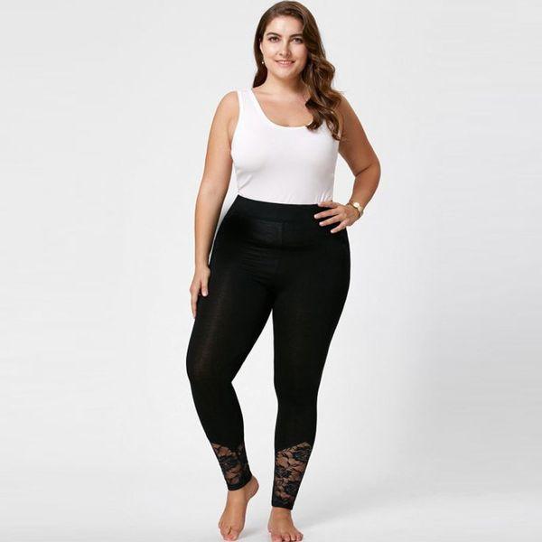 sport legging plus size woman Lace High Elastic Female Fitness Sportwear Yoga Leggings Gym Fitness Sport Black Pants W30