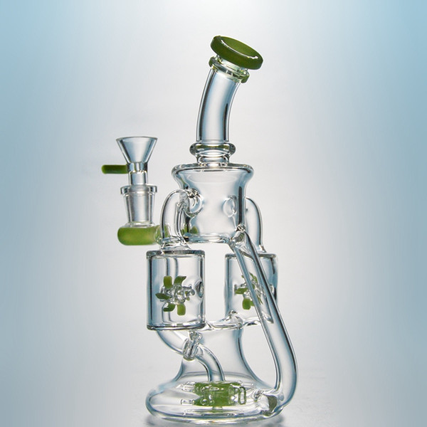 DHL Free Double Recycler Rig Unique Glass Bong Showerhead Perc Dab Rig Propeller Percolater Waterpipes Purple Green Glass Water Bong XL167