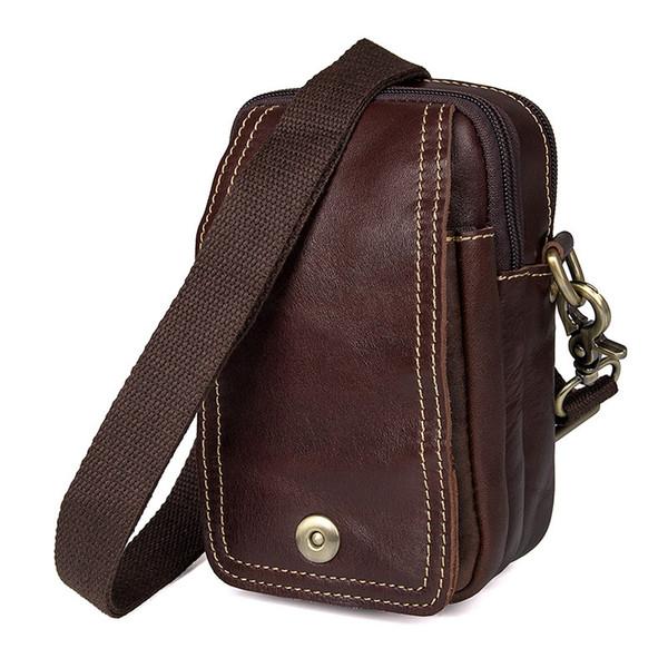 Nesitu Vintage Chocolate Genuine Leather Phone Mini Men Messenger Bags Shoulder Bags Belt Waist Bag For iphone 6s Plus M5004