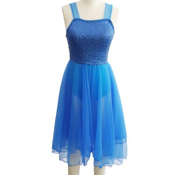 White/Blue Ballet Dress For Girls Child Dancing Sequins Long Tutu Ballet Gymnastics Leotard For Women Solid Dance Clothes