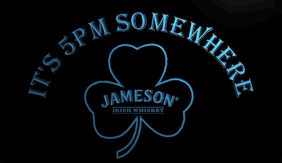 LS780-g- It's 5 pm Somewhere Shamrock Jameson 3D LED Neon Light Sign Customize on Demand 8 colors to choose