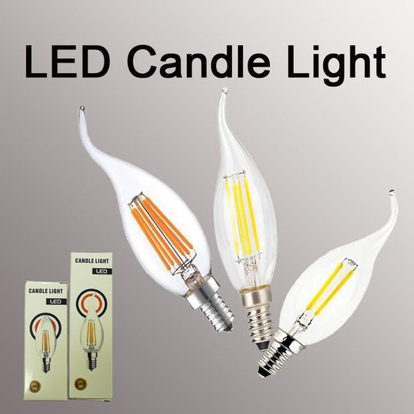 La bombilla de la vela del filamento del LED 2W 4W 6W E14 E12 llevó el alto claro claro brillante C35 lámpara llevada de los bulbos de la luz