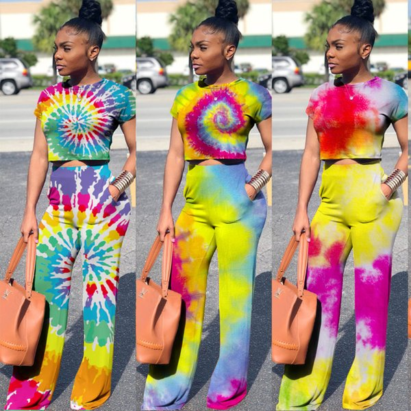 New Women Clothes Slim autumn women tracksuits Overalls Jumpsuits Outfit Rainbow Print Short Sleeve 2 pcs pants casual Coloured drawing set