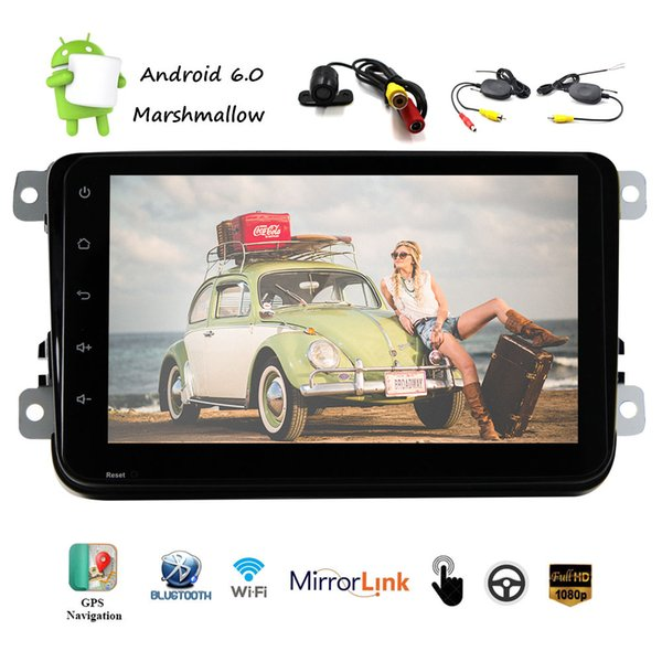 8'' Android 6.0 Universal Multi-touch Screen Car Stereo NO DVD CD System 1080P HD Video in Dash GPS Navigation Wifi USB SD