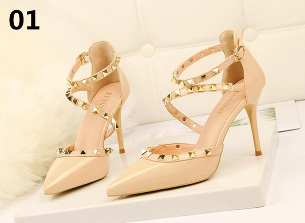 New Autumn Fashion Solid Patent Leather Shallow Women Pumps Sexy Cut-Outs Bowtie Pointed Toe High Heels 10cm Shoes Women's