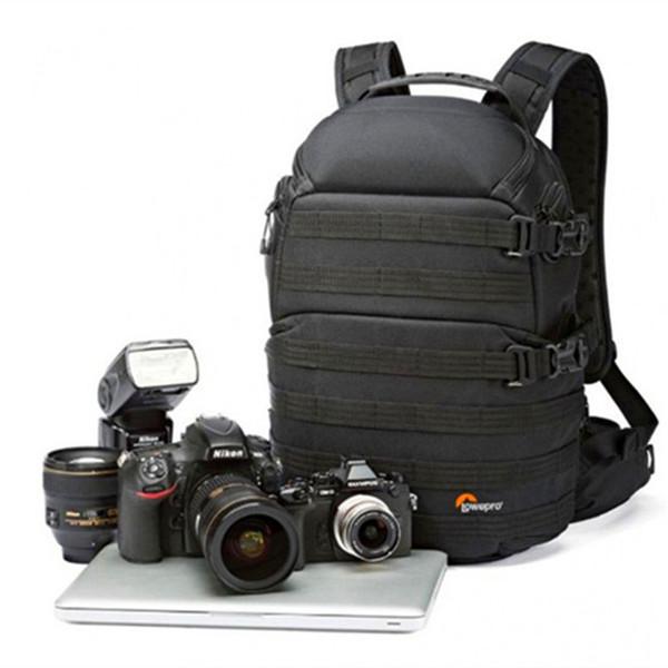 Promoción de ventas NUEVO Genuino ProTactic 350 AW DSLR Camera Photo Bag Mochila para portátil con cubierta para todo clima