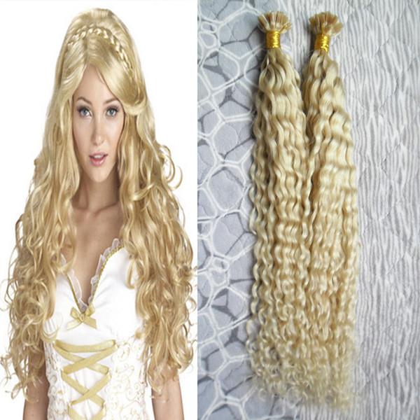U Tip Pré-collé Brésilien Couleur Naturelle Remy Extension de Cheveux Brésilien Silky Curly Hair U-Tip Extension de Cheveux Humains