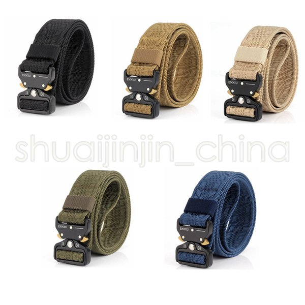 5 Colors Quick Release Buckle Belt Quick Dry Outdoor Safety Belt Training Pure Duty Out Tactical Belt GGA493 20PCS