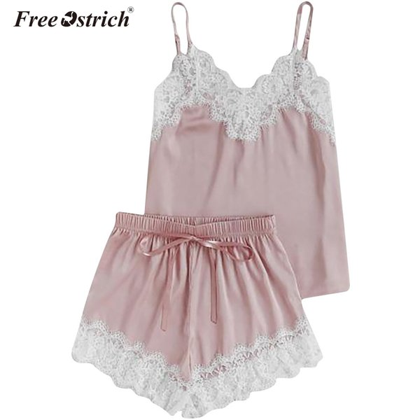 Free Ostrich 2018 Lace Cami & Shorts Pajamas Set Women V Neck Plain Spaghetti Strap Sleeveless Sexy Summer Sleepwear N0 S1015