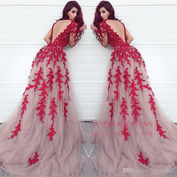 Fabulous Sheer Keyhole Backless Red Appliqued Evening Gowns Arabic Dubai Styles A Line Illusion Long Sleeves Formal Celebrity Party Prom