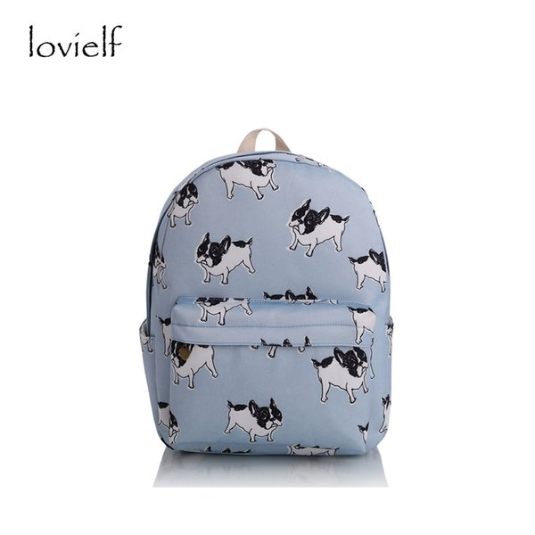 dbde6e7698b5 lovielf HOT girl canvas French bulldog Boston terriers Dogs Animal printing  striped cartoon Book Travel School bags Backpack