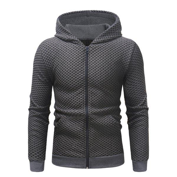 Marke 2018 Hoodie kleine Gitter Reißverschluss Cardigan Hoodies Männer Mode Trainingsanzug männlichen Sweatshirt Hoody Mens Plus Größe XXXL
