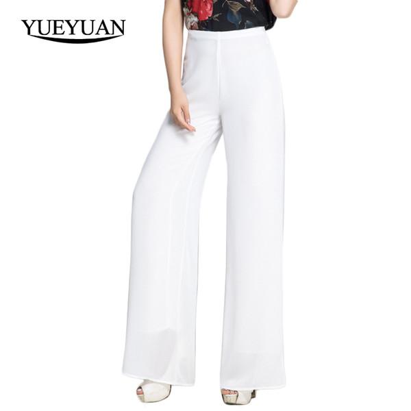 e6e65d64ffb74 Femmes en mousseline de soie pantalon taille haute fermeture éclair mouche pantalon  large Casual couleur unie