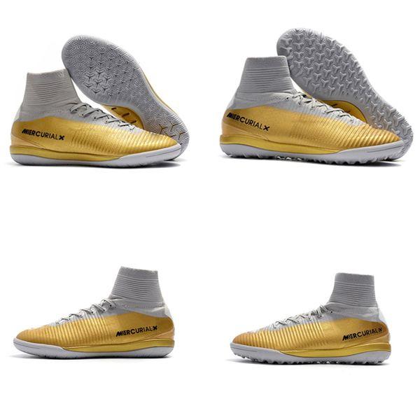 8f4f44603f0b White Gold CR7 Soccer Cleats Cristiano Ronaldo Turf Football Boots Original  Mercurial Superfly V TF/