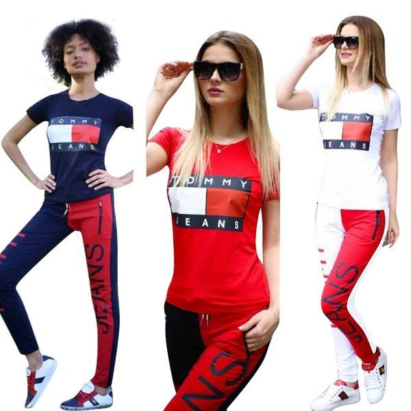 Pink summer sports printing set, short sleeved T-shirt and straight Shorts kanye west 3 color 4 yards Yoga Set S-XL