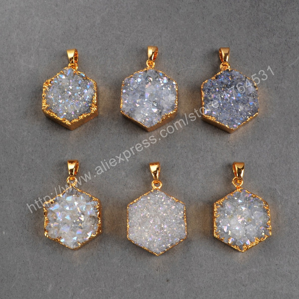 Hot! Hot Agate Titanium AB Druzy Pendant Bead Gold Plated six Hexagon Hot geode stone for DIY Party gift for women 391