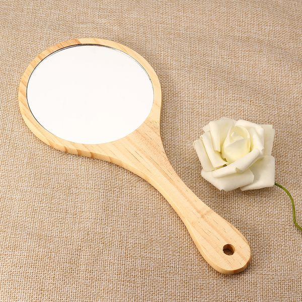 купить оптом старинные деревянные зеркало деревянные руки зеркало портативный компактный макияж тщеславие ручной с ручкой для женщин путешествия