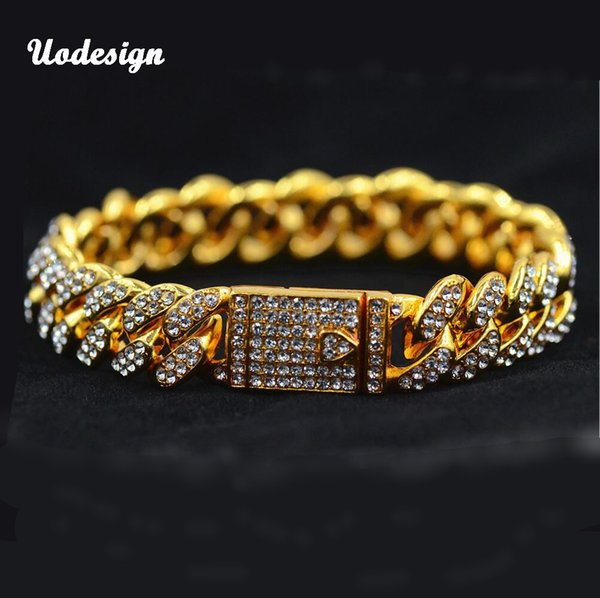 Miami Curb Cuban Hip Hop Rapper Bracelets For Men Gold Crystal Iced Out Rhinestones Magnet Clasp Bracelet Jewelry