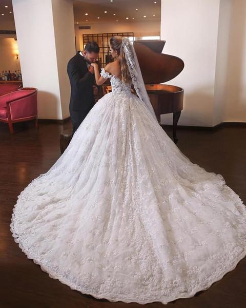 Großhandel 2018 Ballkleid Brautkleider Dubai Arabisch Schulterfrei ...