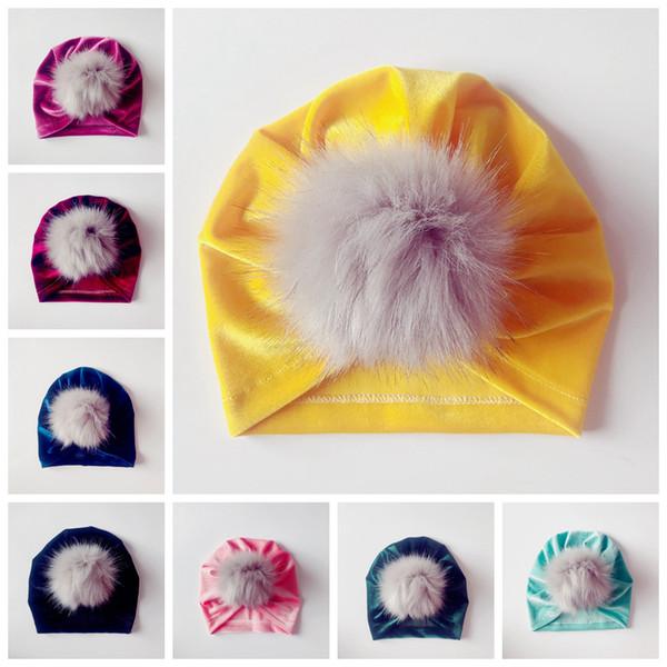 8styles Baby Headwrap Pleuche turban hat fur Newborn Baby Hat Newborn Baby Turban cap kids Xmas party Gifts FFA906 20PCS