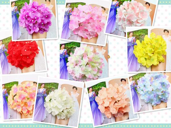 Cabeza artificial de la Hydrangea que besa bolas flor de seda de Quanlity alta Flores falsas para las decoraciones caseras del banquete de boda AHY001-036