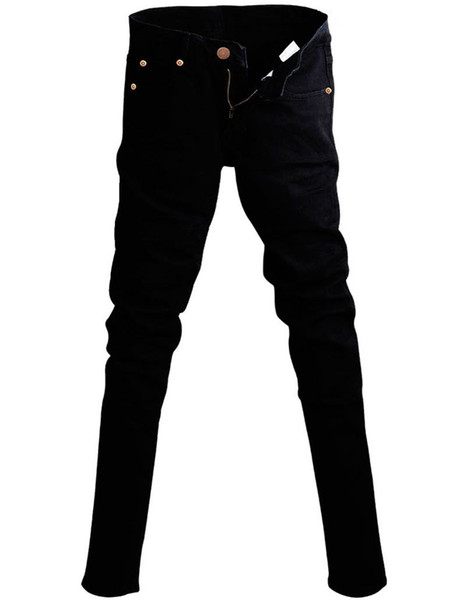 Mens Korean Designer Black Slim Fit Jeans Punk Cool Super Skinny Pants With Chain For Male