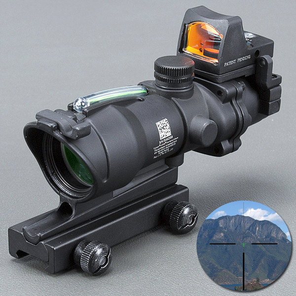 Trijicon ACOG 4X32 Black Tactical Real Fiber Optic Green Illuminated Collimator Red Dot Sight Hunting Riflescope
