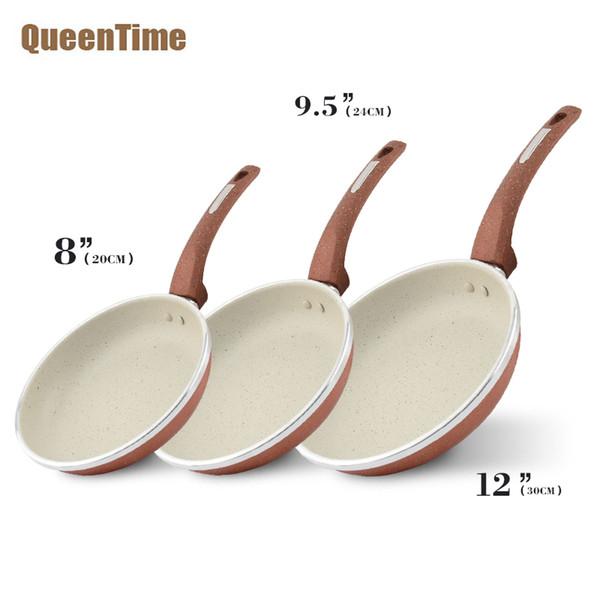 Queentime 3pcs / Set Alüminyum Kızartma Tavaları Skillets Kaplama Kızartma Tavası Profesyonel Aşçılık Skillets Gazlı Ocak Kullan Mutfak Takımları