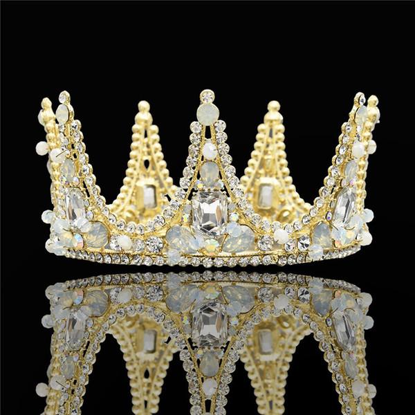 Accessori per capelli da sposa in metallo dorato Accessori per capelli da sposa Big cristallo con strass Principessa Fascia per capelli Diademi Corone Gioielli coronas de reina