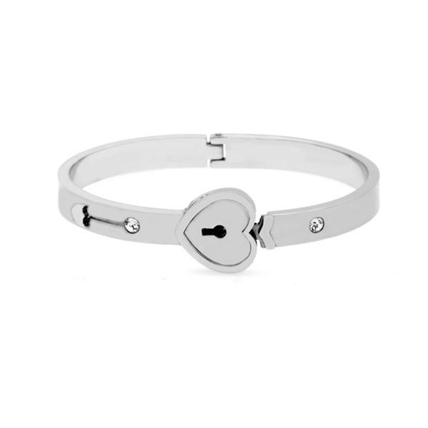 316L Stainless steel Bracelet Key Shape Unlock Heart Lock Shape Steel Bracelet Top Quality Bangle for Women Jewelry VICHOK