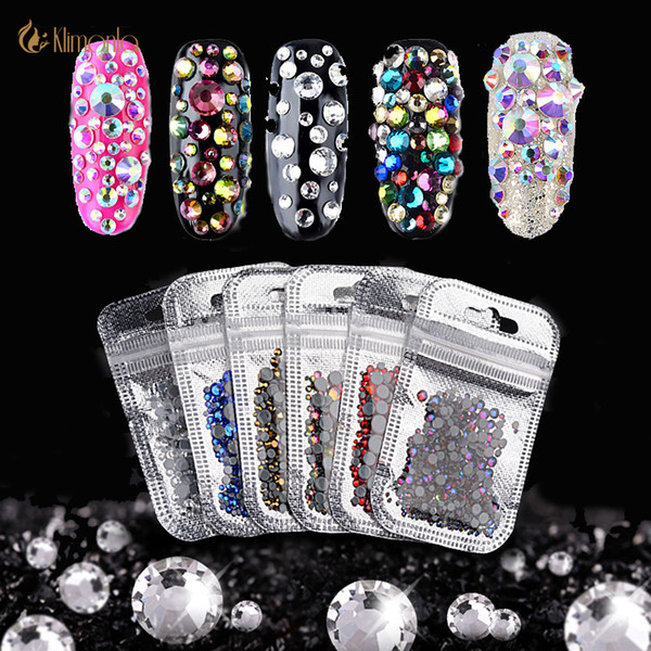 hinestone mix 1 Bag Crystal AB Rhinestones Mix Size Colorful 3D Nails Art Decorations Glass Diamond Drill Manicure Tools or Wedding Decor...