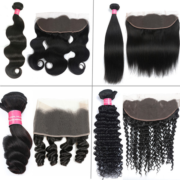 Brazilian Human Hair Body Wave Straight Loose Wave Deep Wave Hair Bundles With Frontal 4X13 Lace Frontal With Brazilian Hair Weave Bundles