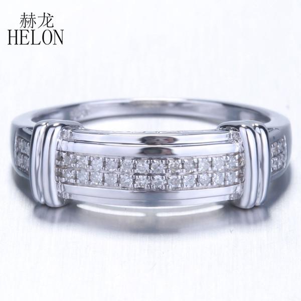 HELON 925 стерлингового серебра кольцо 100% натуральная природный бриллиант кольцо для мужчин помолвки юбилей партии подарок модные ювелирные изделия