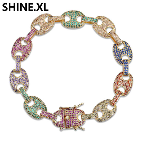 Hip Hop Iced Out Rainbow Zircon Bracelets Gold Silver Plated Puff Marine Anchpr Chain Link Bracelets 7 8 inch