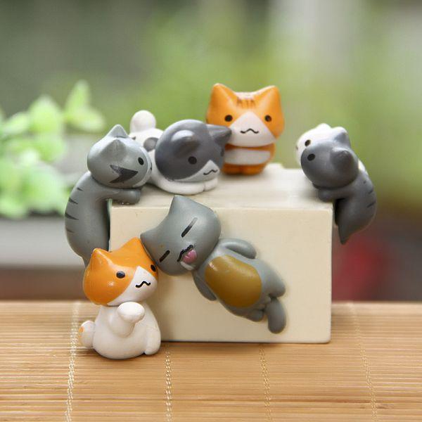 6Pcs/Set Cute Lazy Cats For Micro Landscape Cat Kitten Micro Landschaft Pot Culture Tools DIY Garden Decorations