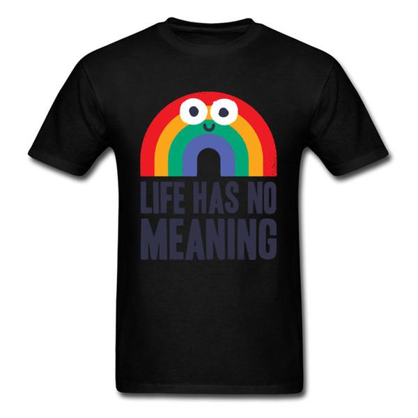 Chaos Rains T Shirt Uomo T Shirt Rainbow Life non ha significato Tshirt Negative Supera Tees Black Summer Cartoon Clothing