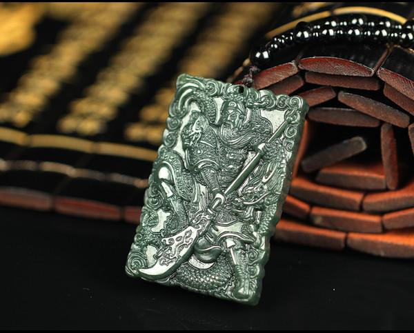Natural jade pendant pendant large Lantian Jade Guan's eighteen dark green jade serpentine male Necklace