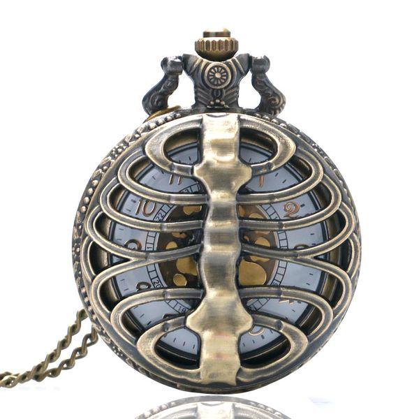 2018 Skeleton Spine Ribs Hollow Men Women Quartz Pocket Watch Cool Vintage Necklace Pendant Nursing Watch Chain for Clock Gifts