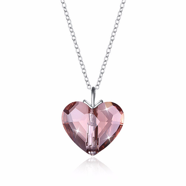 925 sterling silver Swarovsk Pendant Necklace for Women Heart Shape Amethyst Crystal Fine Jewelry Choker Necklace Gift for Lady