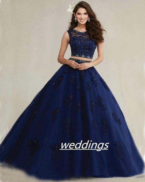 Navy Blush Aqua Blue Quinceanera Ball Gown 2018 Lace Applique Tulle 2 Piece See Through Back prom dress