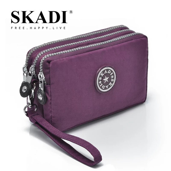 SKADI Women Waterproof Purse Famous Band Wallet Coin Cluth Nylon Bags Phone Bag Zipper Femmina Russia Lady Gift Sac A Main