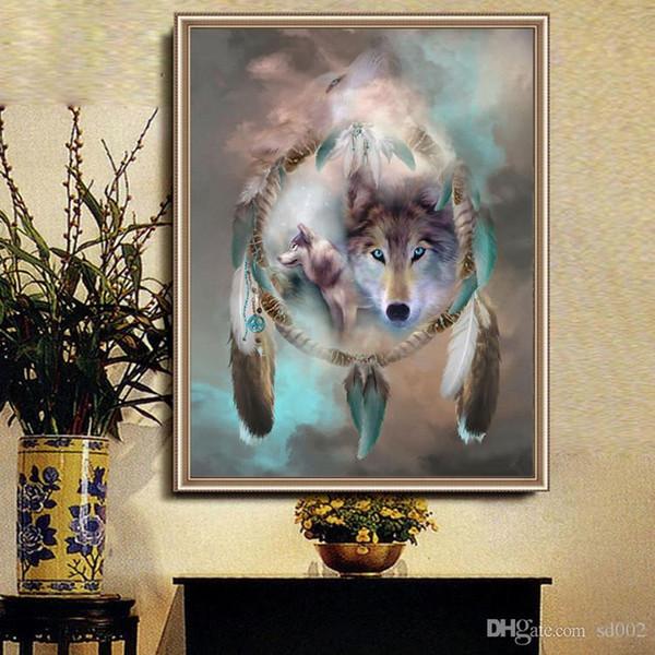 30 * 50 cm Lupo 5d Pittura Diamante Kit FAI DA TE Dreamcatcher Mosaico Punto Croce Appeso A Parete di Arte Immagini Per La Casa Decorazioni di Lusso 9cq ZZ
