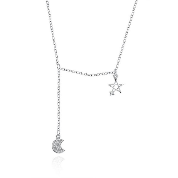 Sterling Silver 925 Necklace Lady Party Jewelry Pure Silver Star Moon Zircon Pendant Necklace Free Shipping n079