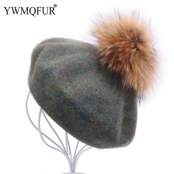 Autumn Winter Warm Wool Beret Hats For Women Casual Solid Beanie Girl Gift Female Caps With Raccoon Fur Ball 2018 New Arrival