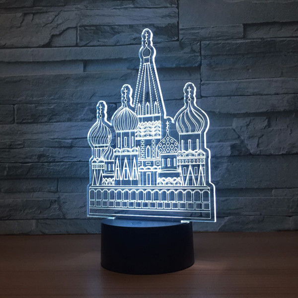 Russian Castle 3D Optical Illusion Lamp Night Light DC 5V USB Powered 5th Battery Wholesale Dropshipping Free Shipping