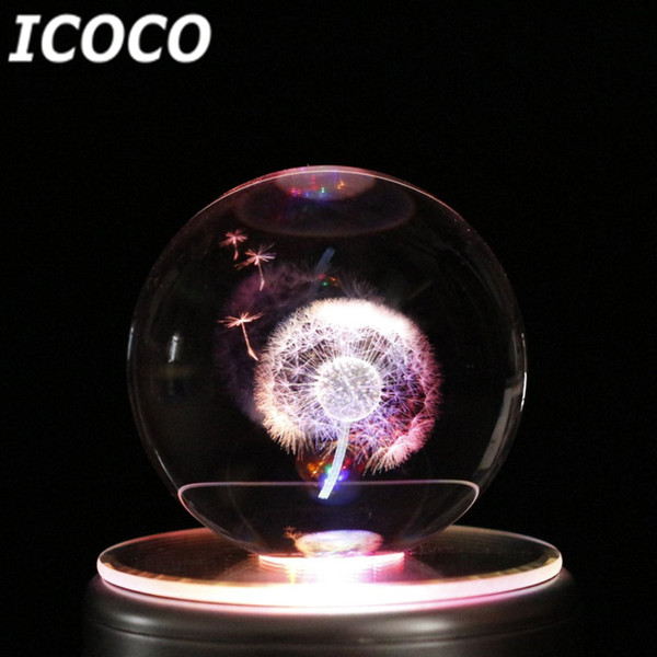 ICOCO Romantic Colorful LED Crystal Ball Music Box Night Light with Bluetooth Base Gift for Christmas Birthday Gift Drop Ship