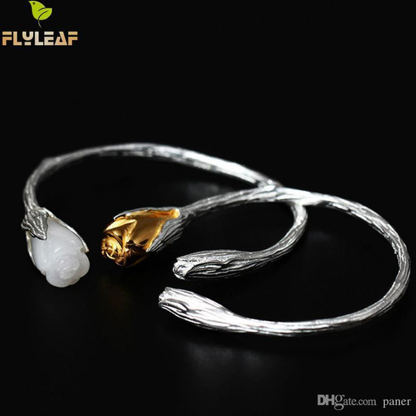 whole saleFlyleaf Magnolia Flower Open Bracelets & Bangles For Women Vintage Style Elegant Lady 925 Sterling-silver-jewelry