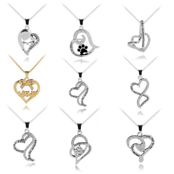 Acheter Je Taime Cristal Diamant Coeur Collier Maman Mère Fils Amis Amour Pour Toujours Pendentifs Bijoux De Mode Pour Les Femmes Drop Shipping De